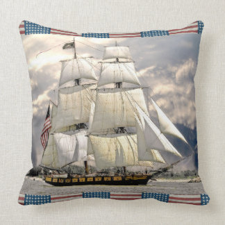 Beautiful Old Ship Nautical American Flag Pillow