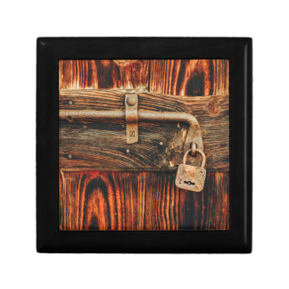 Beautiful old wood door with antique lock jewelry gift box