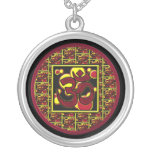 Beautiful Om Aum Symbol w/Circles and Squares Personalised Necklace