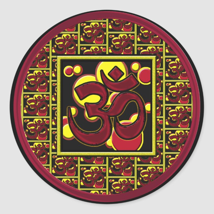 Beautiful Om Aum Symbol w/Circles and Squares Round Sticker