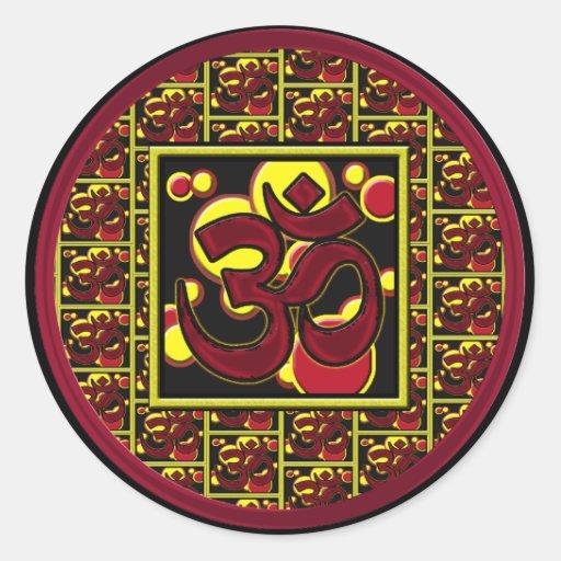 Beautiful Om Aum Symbol w/Circles and Squares Round Sticker