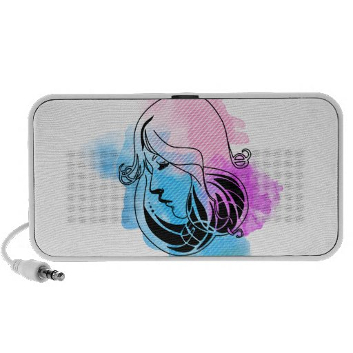 Beautiful on woman watercolor phase background laptop speaker