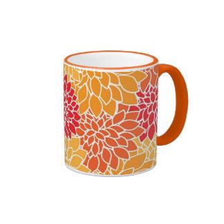 Beautiful Orange and Red Floral Mug Coffee Mugs
