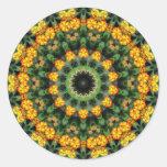 Beautiful Orange and Yellow Lantana Kaleidoscope 2 Round Stickers