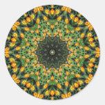 Beautiful Orange and Yellow Lantana Kaleidoscope 3 Round Stickers