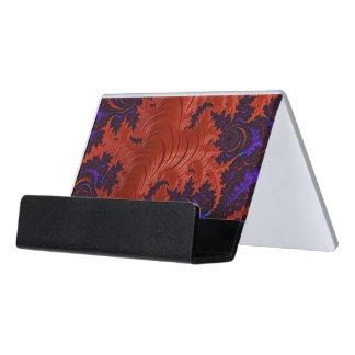 Beautiful Orange Blue Fractal Design Desk Business Card Holder