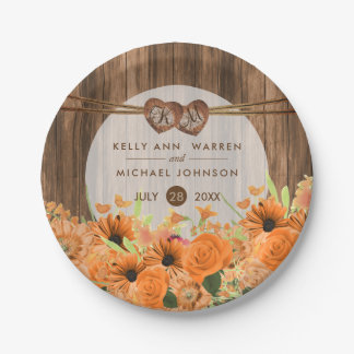 Beautiful Orange Floral on Wood Paper Plate