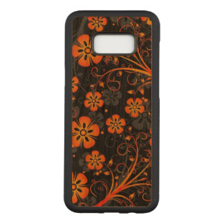 Beautiful orange flowers swirl print art carved samsung galaxy s8+ case
