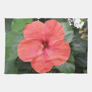 Beautiful Orange Hibiscus Flower Kitchen Towel