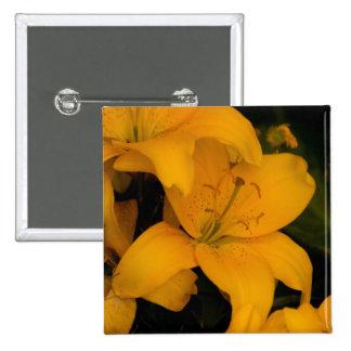 Beautiful orange lily flower button pin badge