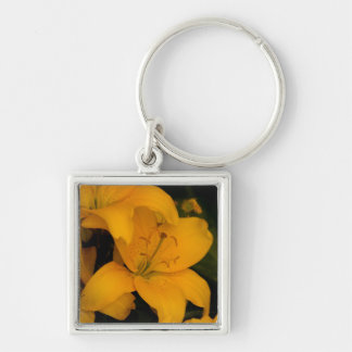 Beautiful orange lily flowers keychain, gift idea Silver-Colored square key ring