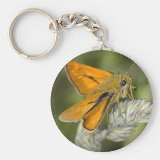 Beautiful orange moth and flower key chain