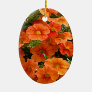 Beautiful orange petunia flowers christmas ornament
