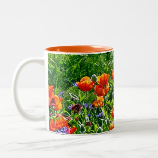 Beautiful orange poppy flower coffee mug