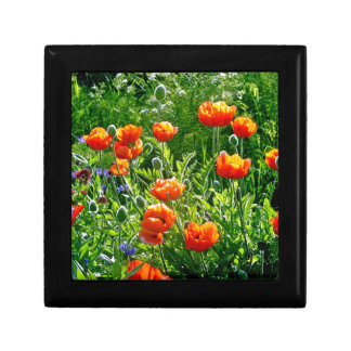 Beautiful orange poppy flower print keepsake box