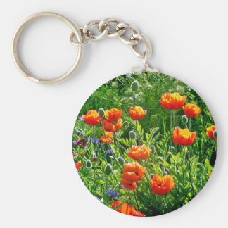 Beautiful orange poppy flower print keychains