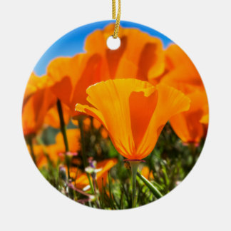 Beautiful Orange Poppy Flowers in a Field Christmas Ornament