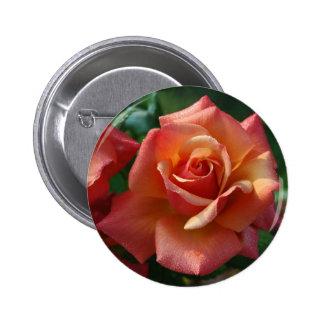 Beautiful orange-red rose 6 cm round badge
