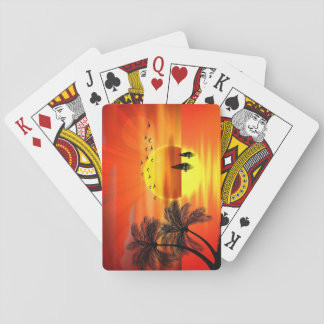 beautiful orange sunset art playing cards
