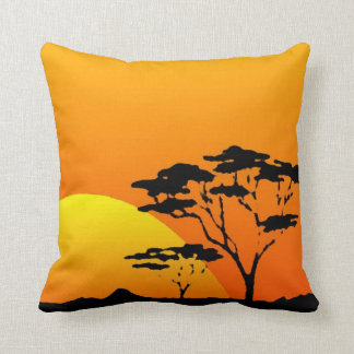 Beautiful Orange Yellow African Safari Sunset Cushion