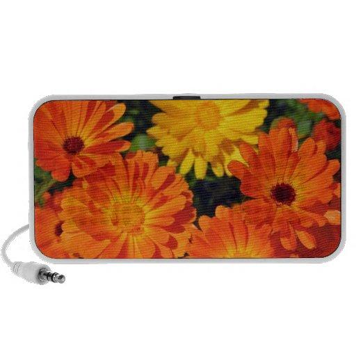 Beautiful orange zinnia flower garden travel speaker