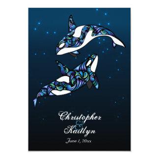 Beautiful Orca Whales Beach Wedding Card