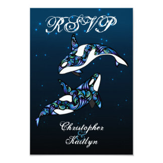 Beautiful Orca Whales Beach Wedding RSVP 9 Cm X 13 Cm Invitation Card