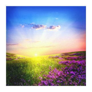 Beautiful orchid blue sunny warm morning arising canvas print