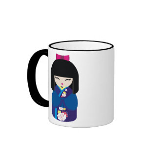 Beautiful Oriental Chinese Japanese Doll Ringer Mug