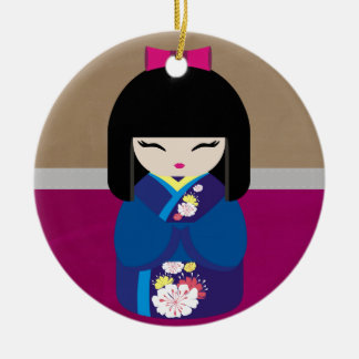 Beautiful Oriental Kokeshi Doll Christmas Ornament