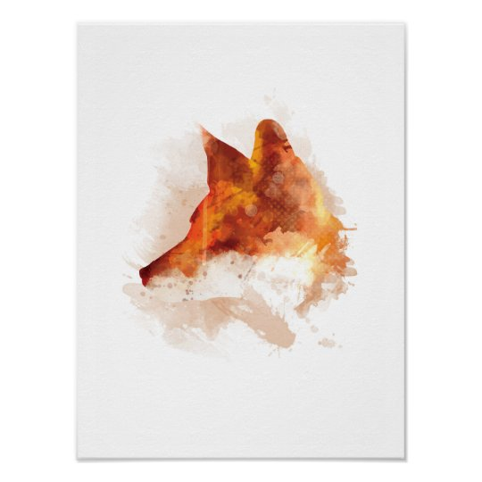 Beautiful Original Fox Watercolour Design Poster