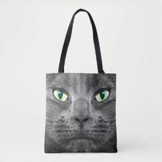 Beautiful original grey cat with green eyes bag
