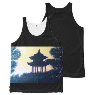 Beautiful Pagoda Silhouette Art Scenery Landscape All-Over Print Tank Top