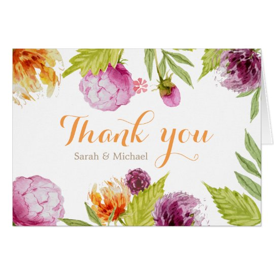 Beautiful Painted Floral Thank You Script Card