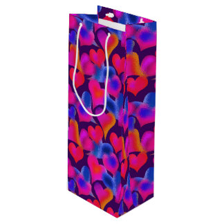 Beautiful Painted Hearts   Valentine's Day Wine Gift Bag