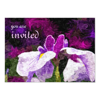 Beautiful Painterly Iris Flower Purple Violet Pink 13 Cm X 18 Cm Invitation Card