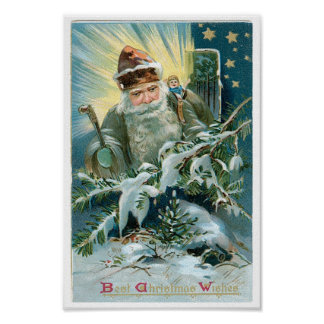 Beautiful painting of Santa Claus and the Stars Poster