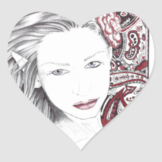 Beautiful Paisley Female Elf Heart Sticker