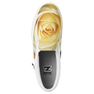 Beautiful Pale Yellow Rose Slip On Shoes