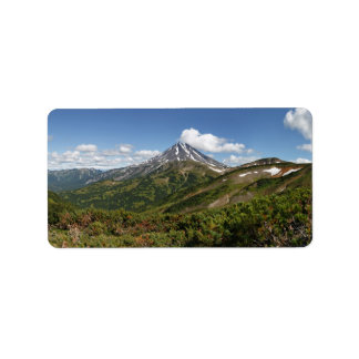 Beautiful panorama summer volcanic landscape label