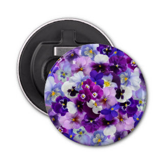 Beautiful Pansies Spring Flowers Bottle Opener
