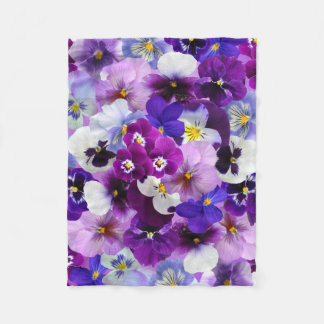 Beautiful Pansies Spring Flowers Fleece Blanket
