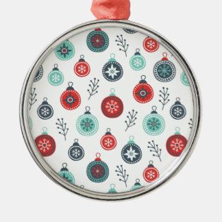 Beautiful Pastel Christmas Hanging Balls and Pine Silver-Colored Round Decoration