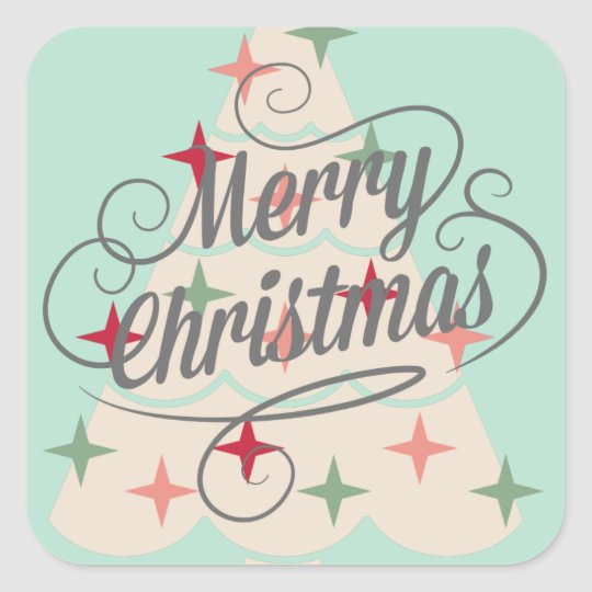 Beautiful Pastel Colour Christmas Tree Square Sticker