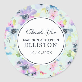 Beautiful Pastel Floral Watercolor | Thank You Classic Round Sticker