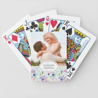 Beautiful Pastel Floral Watercolor - Wedding Photo Bicycle Playing Cards