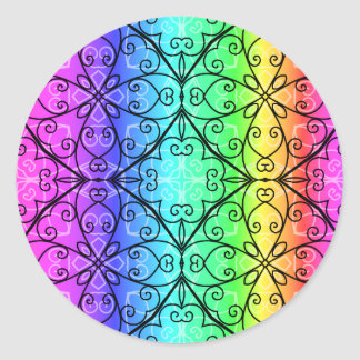 Beautiful pastel rainbow classic round sticker