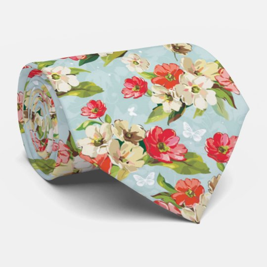 Beautiful Pastel Romantic Cherry Blossom red-cream Tie