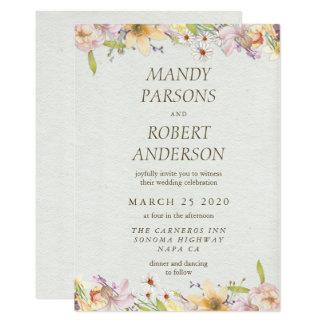 Beautiful Pastel Watercolor Floral Wedding Card