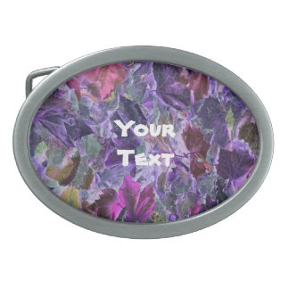Beautiful Pattern Abstract Foliage Purple Oval Belt Buckles